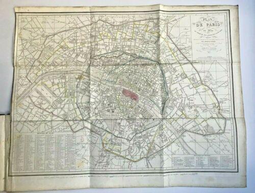 ATLAS DULAURE 1859 HISTOIRE DE PARIS - 5 FOLDING MAPS COMPLET