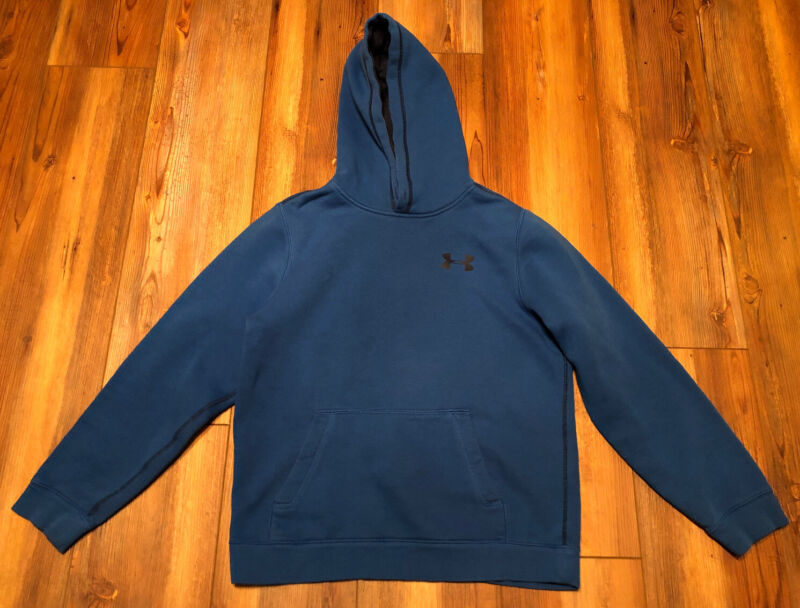 Under Armour Boys Youth Large YLG Blue Long Sleeve Hooded Sweatshirt Hoodie