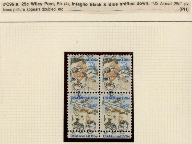 "#c95-6 Var. ""wiley Post 25¢"" Major Color Shift Error Block Of 4 Bp5718"