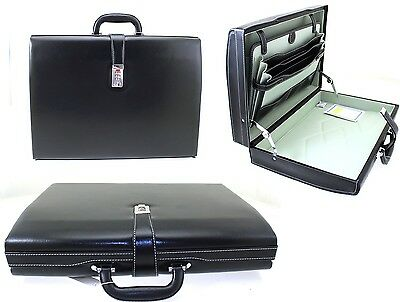 Slim Line Executive Attache Case Faux Leather Expandable Briefcase Office Bag