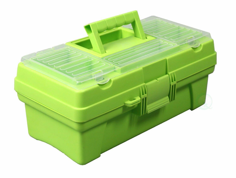 Tool Box 14 in. Green Multi-Compartment Plastic Small Parts