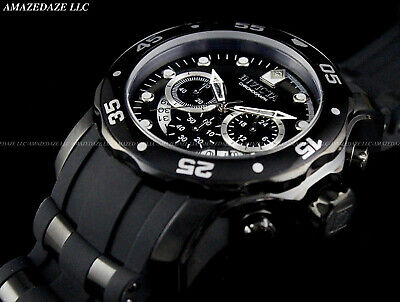NEW Invicta Men Scuba Pro Diver Stainless St COMBAT BLACK DIAL Chronograph Watch