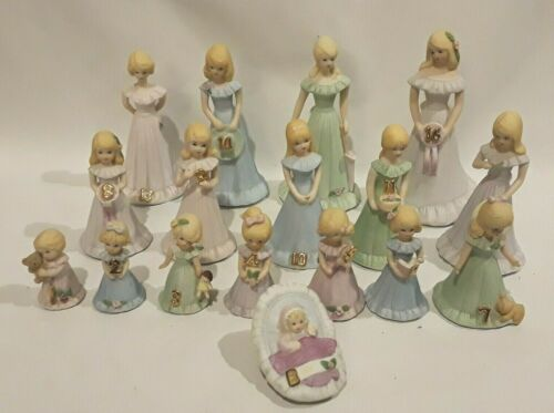 Lot of 17 Enesco Growing Up Birthday Girls Blonde Complete Set Baby-16 Music Box