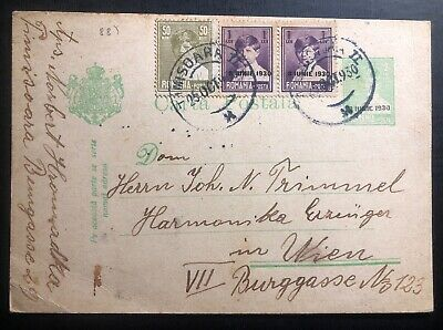 1930 Timisoara Romania Stationery postcard Cover To Vienna Austria
