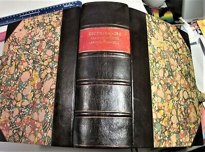 DICTIONARY ENGLISH-FRENCH & FRENCH-ENGLISH/*1778/CHAMBAUD/2 VOLS in FINE LEATHER French Dictionary Book