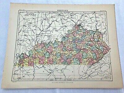 circa 1880s map of  kentucky  ( adam & charles black )
