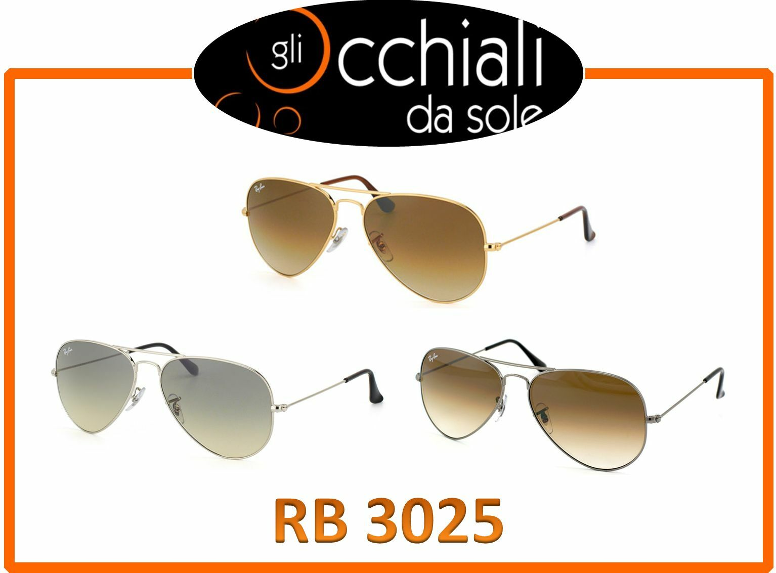 Ray Ban 3025 Aviator Large Metal, occhiali da sole Pilot, Best Seller