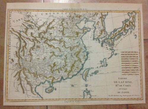 CHINA COREA JAPAN 1780 by RIGOBERT BONNE ANTIQUE ENGRAVED MAP IN COLORS