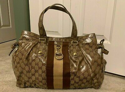 GUCCI Crystal Coated Brown Monogram GG Signature WEB STRIPE Purse Bag TOTE L
