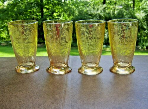 "Four C. 1950 Florigold ""Louisa"" Iridescent Footed Tumblers by Jeanette Glass"
