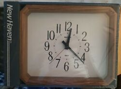 Vintage New Haven Wood Quartz Wall Clock Sealed New in Package