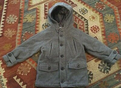 Gymboree toddler boy XS(3-4) Gray wool blend hooded button-down Pea Coat - Toddler Boy Peacoat