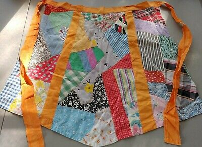VINTAGE 1940's-50's- FABRIC, PATCHWORK QUILT THEME KITCHEN HALF APRON