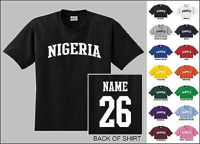 Country Of Nigeria College Letter Custom Name & Number Personalized T-shirt