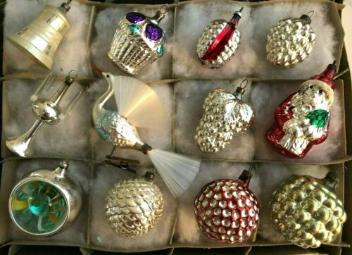 12 Antique Mercury Glass Silver Figural Christmas Ornaments Germany Italy