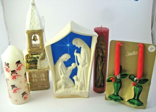 5 Vintage Christmas Candles Most Gurley Nativity Church Snowmen Tapers