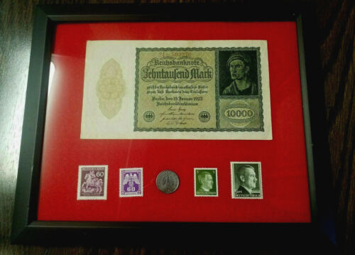 Rare WW2 German10 Rp Coin & Stamps & 10000 Mark Bill - Historical Artifact