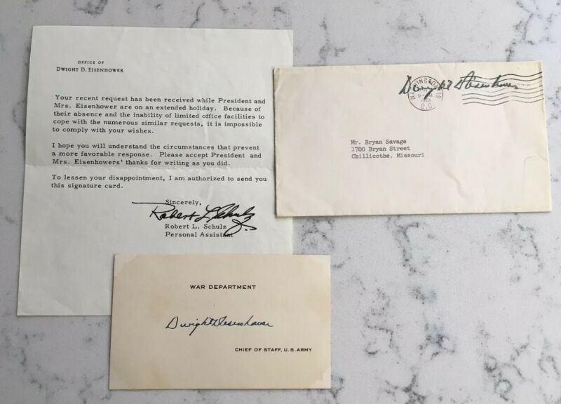 SIGNED PRESIDENT DWIGHT D. EISENHOWER AUTOGRAPH SIGNED SIGNATURE CARD W/ NOTE