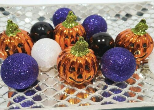 """(12) Halloween Mini Pumpkin Ball Glitter Ornaments 1.5"""" Tree Decorations Decor"""