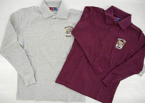 Boys R/K Assorted L.S. Challenger School Uniform Polo Shirt Sizes XSmall - Large