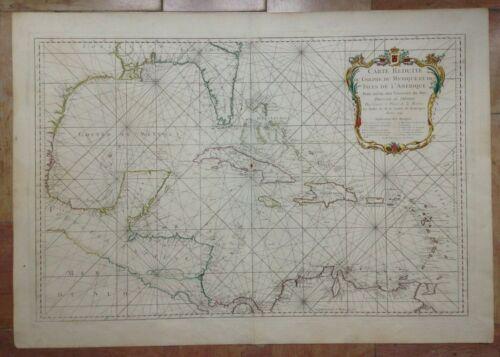 GULF OF MEXICO CARIBBEAN 1749 NICOLAS BELLIN RARE VERY LARGE ANTIQUE SEA CHART