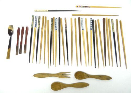 Mixed Used Lot Wood Bakelite Chopsticks Spoons Forks Eating Kitchen Utensils