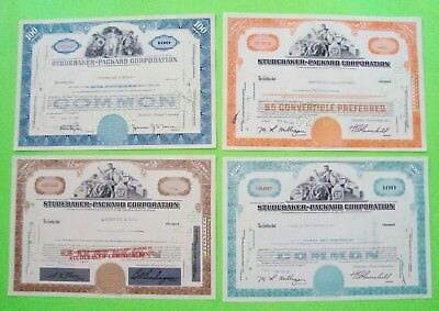 4 Diff 1950's - 60's STUDEBAKER PACKARD STOCK CERT's Tan BLUE Orange TEAL Xlnt