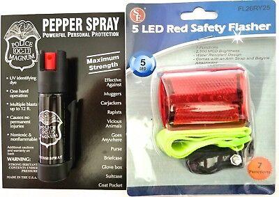 Police Magnum 3/4oz Bottom Clip pepper spray Red Bike Safety Light Flasher