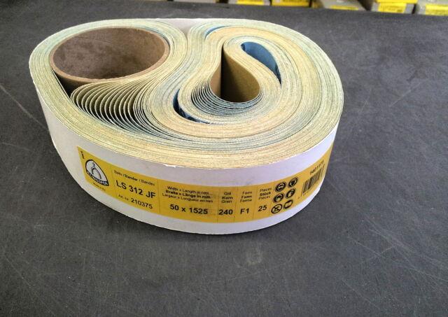 """Klingspor LS312JF Abrasive Belts 50x1525mm (2""""x60"""") Grit 240 (Pack of 25)"""