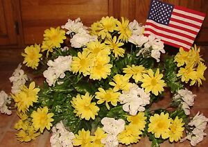 USA-Flag-Autumn-Fall-Cemetery-Memorial-Day-Service-Yellow-Daisy-White-Geraniums