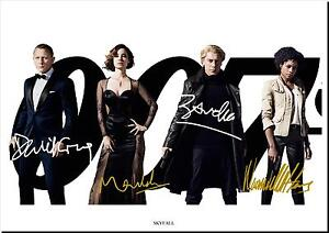 JAMES BOND SKYFALL CAST SIGNED X4 PRINT FILM PHOTO AUTOGRAPH POSTER GIFT
