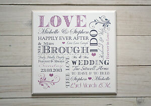 Chic & Shabby Personalised Wooden Wedding Plaque Sign Unique Gift Idea