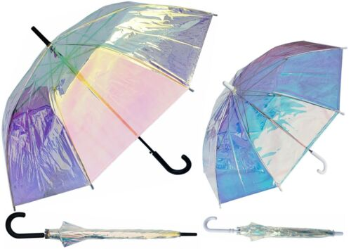 Set of 2 Iridescent Clear Umbrellas 1 Adult & 1 Child Size - RainStoppers