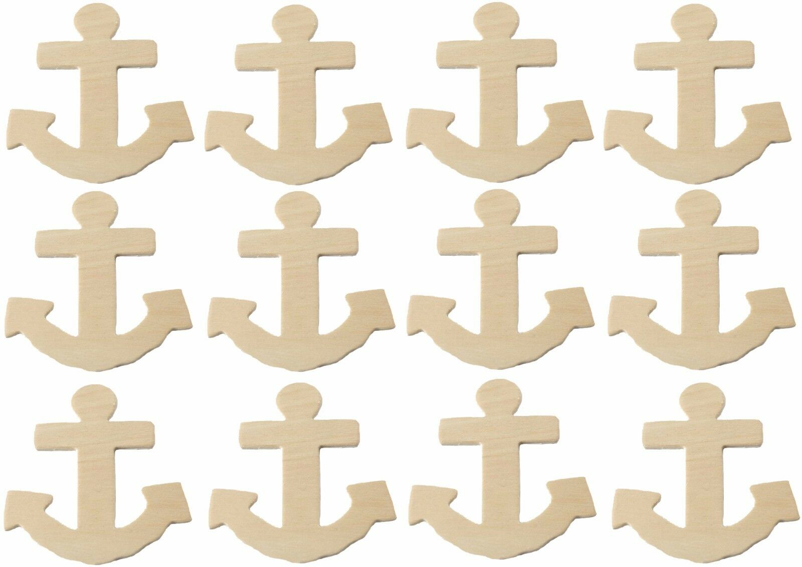 Creative Hobbies® Unfinished Wood Anchor Cutout Shapes, 4 Inch tall, pack of 12 Crafting Pieces