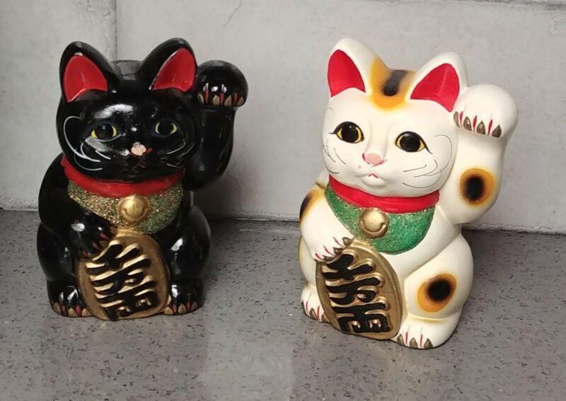 2 pc Japanese Beckoning Cat Maneki Neko Black & White Piggy Bank Figurine Japan