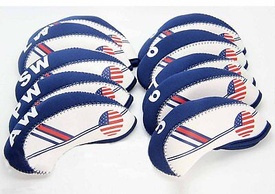 - NEW 10 pcs Golf Head Cover Club Iron HeadCovers Protect set Neoprene US USA Flag
