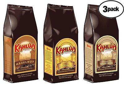 Kahlua 3 BAGS 12oz 1 EACH HAZELNUT, ORIGINAL, FRENCH VANILLA Ground Coffee  - Kahlua French Vanilla