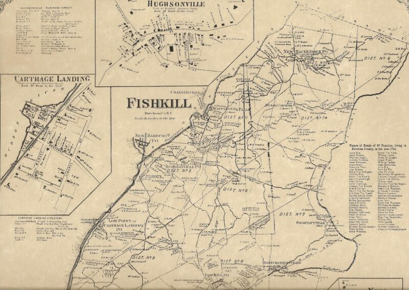 Fishkill Wappingers Falls NY 1867 Map with Businesses and Homeowners Names Shown