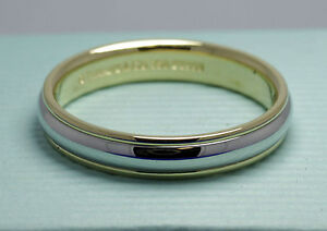 tiffany lucida platinum 18ct ygold 2 colour 4mm wedding ring s5 - Tiffany Wedding Ring
