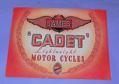 * VERY RARE * ORIGINAL * 1950's * JAMES CADET * MOTORCYCLE SALES BROCHURE *