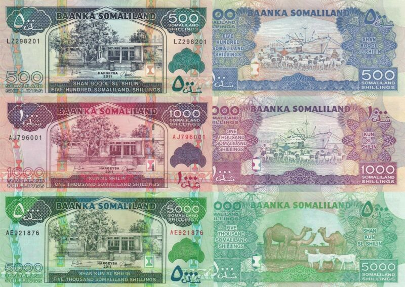 Somaliland 3 Note Set: 500, 1000 & 5000 Shillings (2011) - p19, p20 & p21