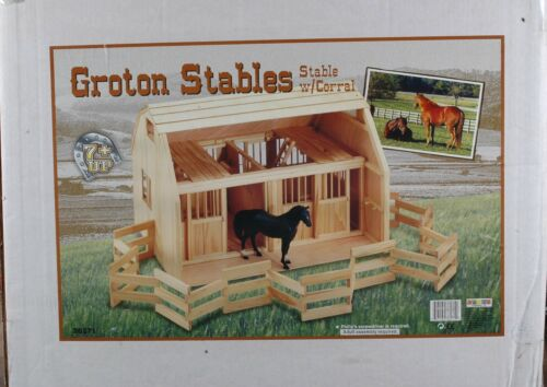 GROTON GRAND WOODEN STABLES WITH FOLD UP CORRAL ( Brand new in box) #36271