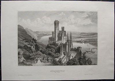 Schloss STOLZENFELS bei KOBLENZ am Rhein. Originaler Stahlstich 1850