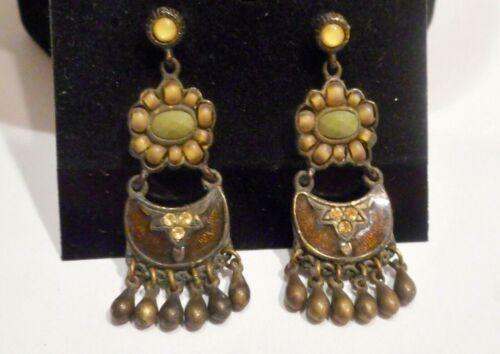 Etruscan Style, Bronze Tone Metal,Enamel,Crystals & Faux Stone Pierced Earrings