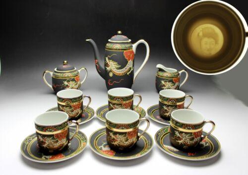 15 PCS New Dragonware Matte Black Geisha Porcelain Demitasse Coffee Set Japan