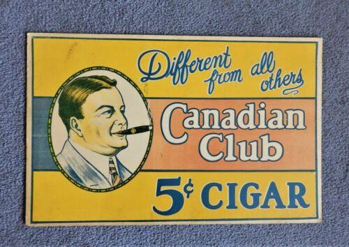 Vintage 1930s CANADIAN CLUB 5c CIGAR ADVERTISING Cardboard Sign - Nice