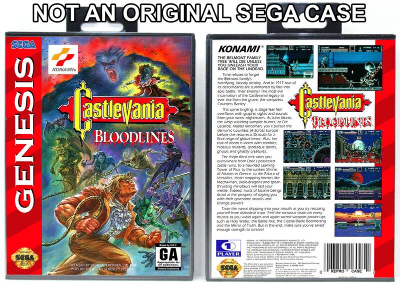 Castlevania: Bloodlines - Sega Genesis Custom Case *NO GAME*