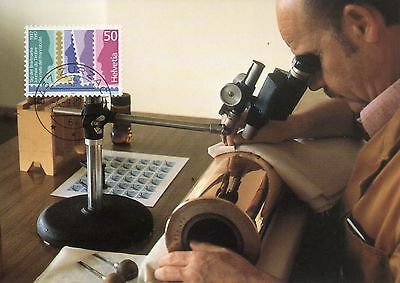 POSTCARD MAXI CARD 1987  LOVELY CONDITION HELVETIA 50 STAMP...MICROSCOPE