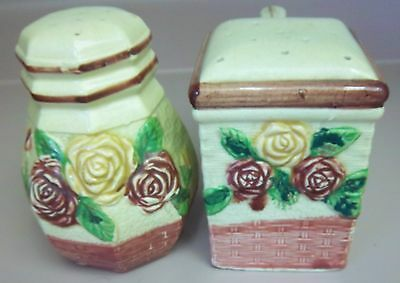 VINTAGE CERAMIC SALT & PEPPER SHAKERS WITH ROSES AND BASKETS