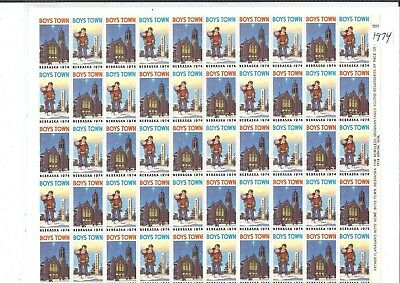 Boys Town Seals - 1974 Boys Town Seals Full Sheet of 100 - Mint Never Hinged